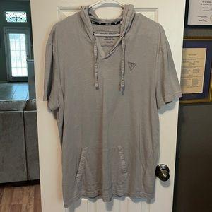 Men's Guess Short Sleeve Hoodie Shirt, XL